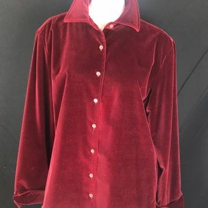 Faconnable Red Velvet Holiday Shirt Jacket Layer L